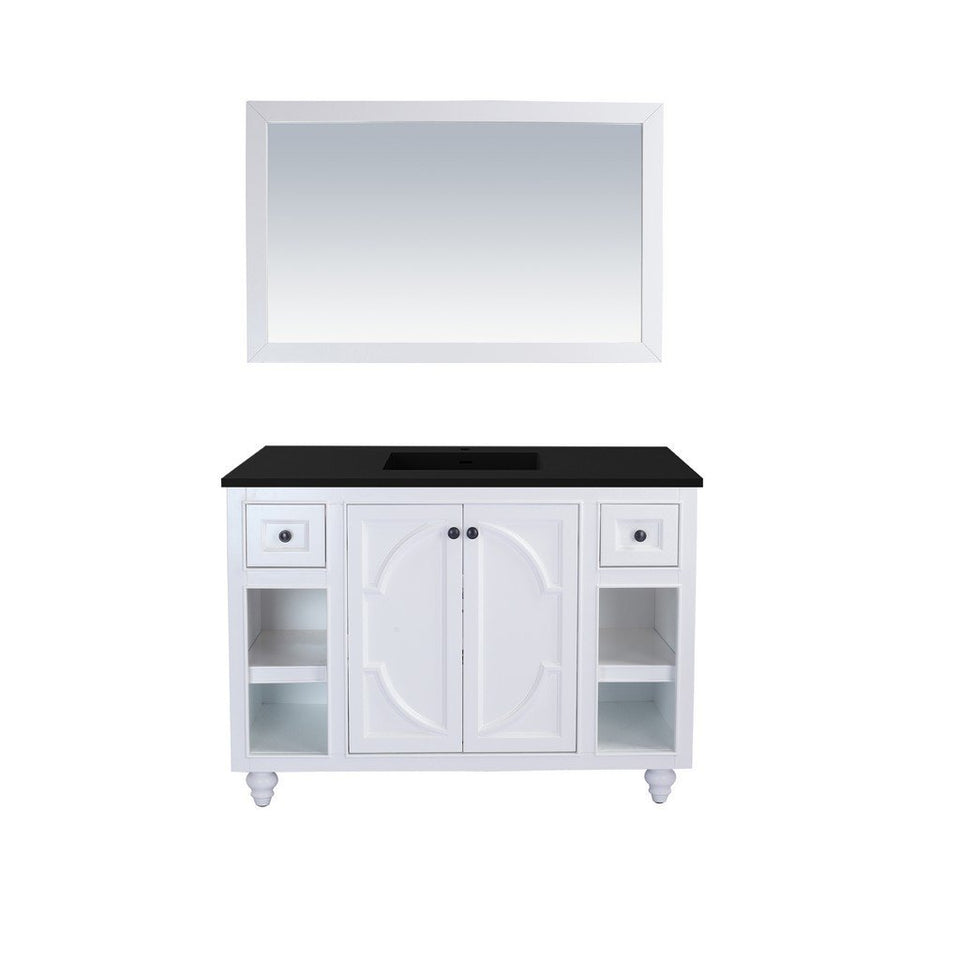 "Laviva Odyssey 48"" Cabinet with Matte Black VIVA Stone Solid Surface Countertop Laviva Vanities White"