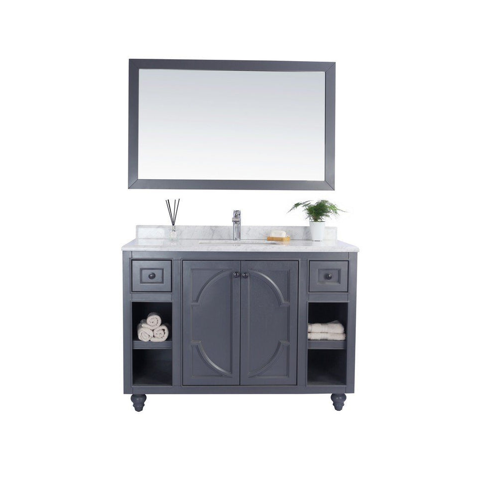 "Laviva Odyssey 48"" Cabinet with White Carrera Counter Laviva Vanities Grey"