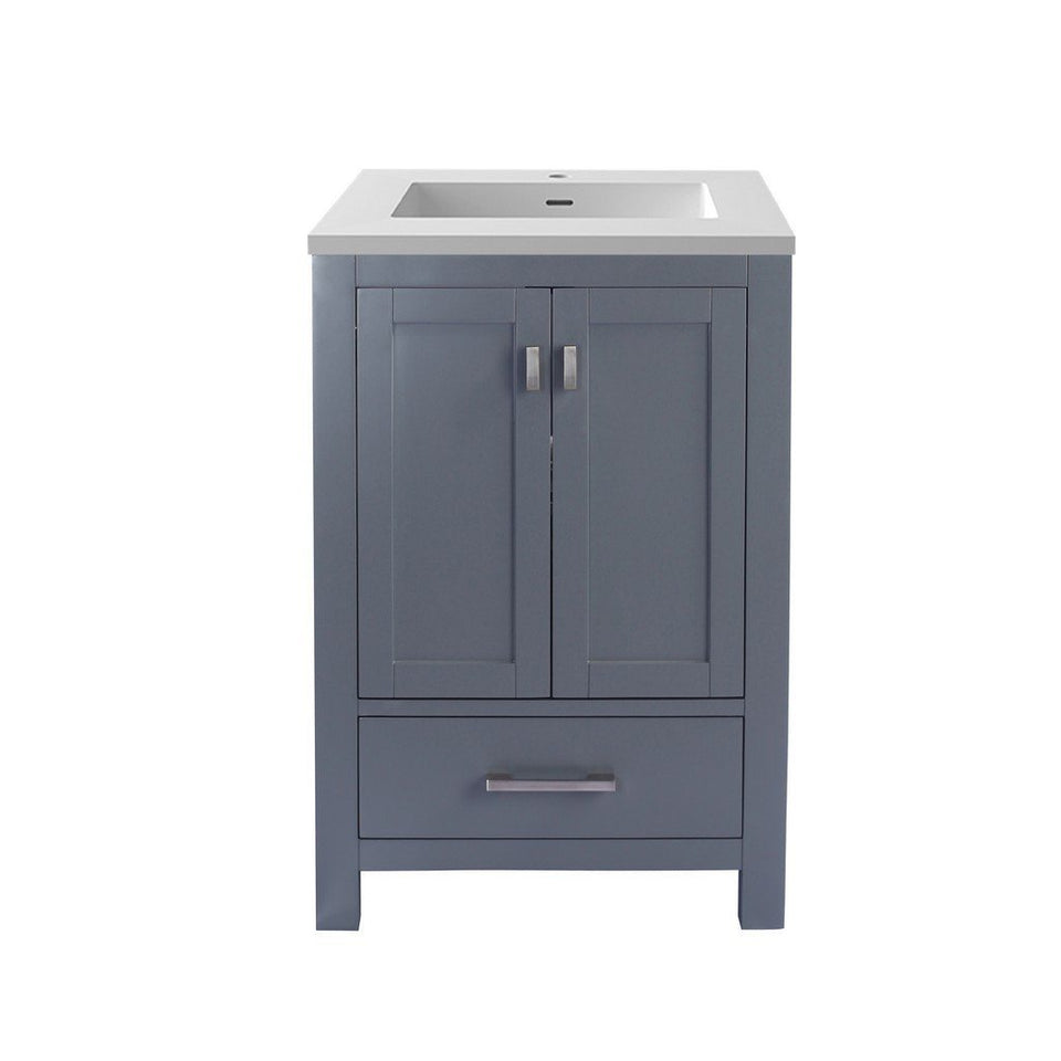"Laviva Wilson 24"" Cabinet with Matte White VIVA Stone Solid Surface Countertop Laviva Vanities Grey"