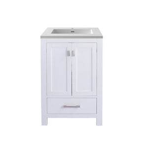 "Laviva Wilson 24"" Cabinet with Matte White VIVA Stone Solid Surface Countertop Laviva Vanities White"