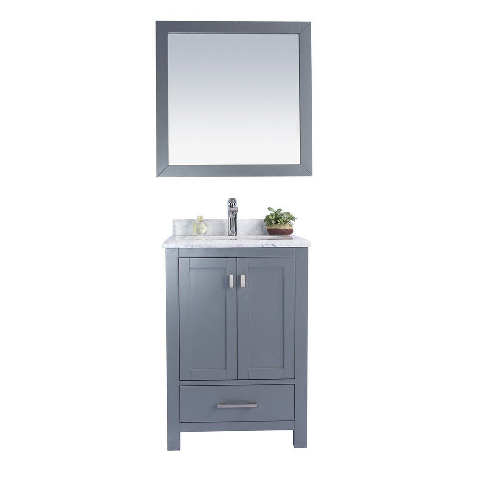 "Laviva Wilson 24"" Cabinet with White Carrara Countertop Laviva Vanities Grey"