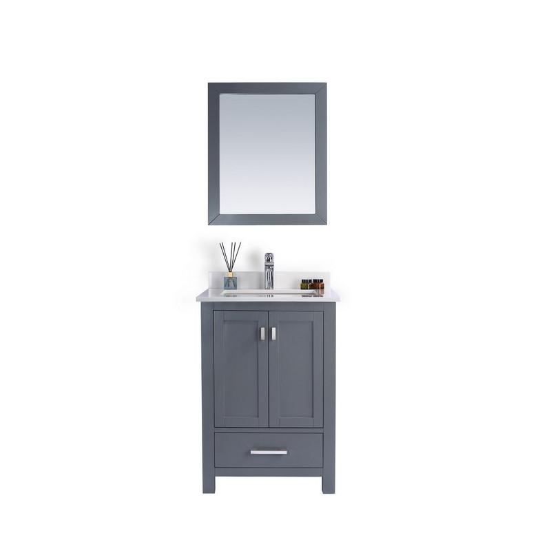 "Laviva Wilson 24"" Cabinet with White Quartz Countertop Laviva Vanities Grey"