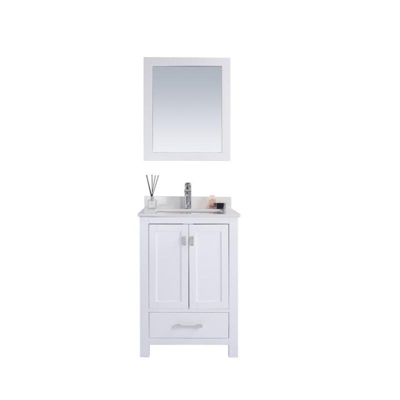 "Laviva Wilson 24"" Cabinet with White Quartz Countertop Laviva Vanities White"