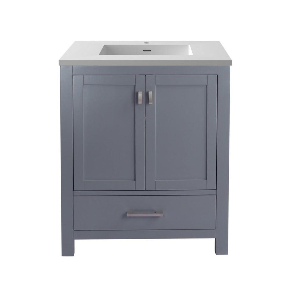 "Laviva Wilson 30"" Cabinet with Matte White VIVA Stone Solid Surface Countertop Laviva Vanities Grey"