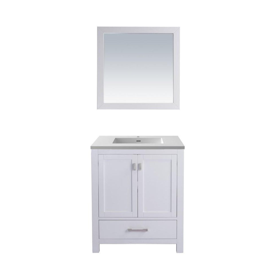 "Laviva Wilson 30"" Cabinet with Matte White VIVA Stone Solid Surface Countertop Laviva Vanities White"