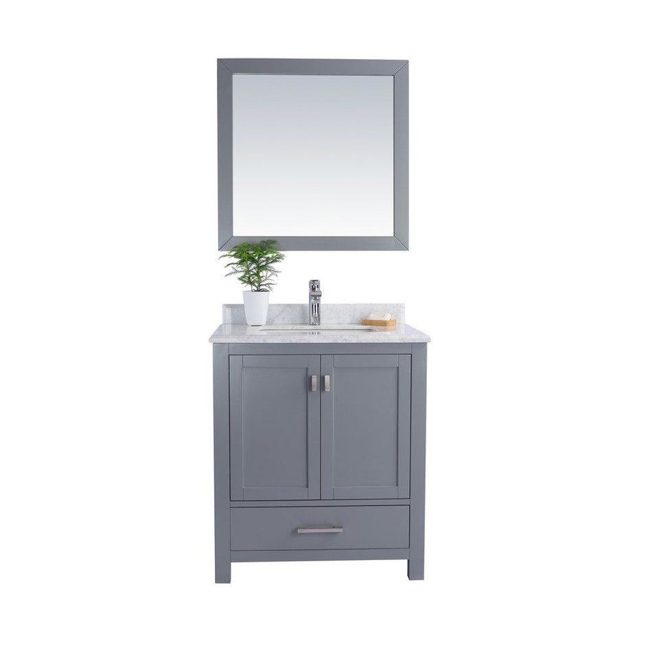 "Laviva Wilson 30"" Cabinet with White Carrara Countertop Laviva Vanities Grey"