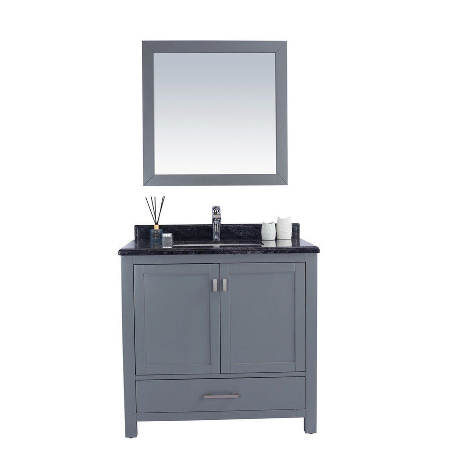 "Laviva Wilson 36"" Cabinet with Black Wood Countertop Laviva Vanities Grey"