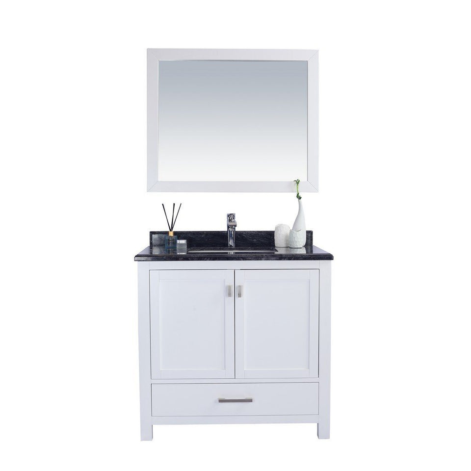 "Laviva Wilson 36"" Cabinet with Black Wood Countertop Laviva Vanities White"