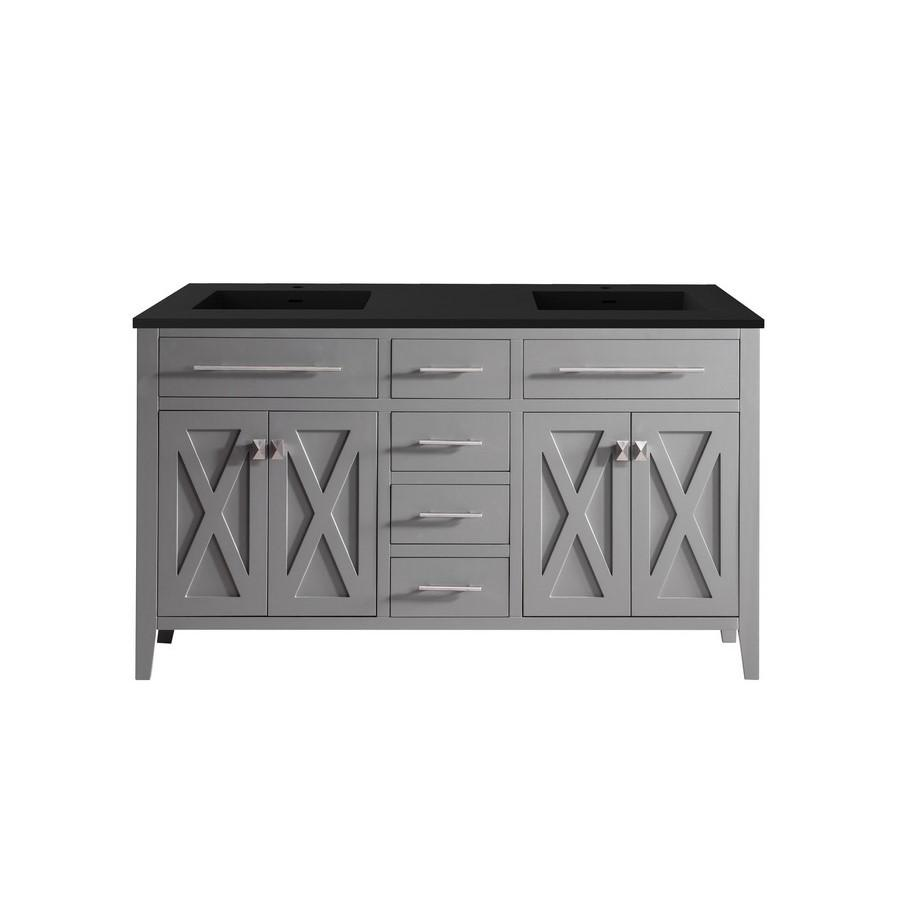 "Laviva Wimbledon 60"" Cabinet with Matte Black VIVA Stone Solid Surface Countertop Laviva Vanities Grey"