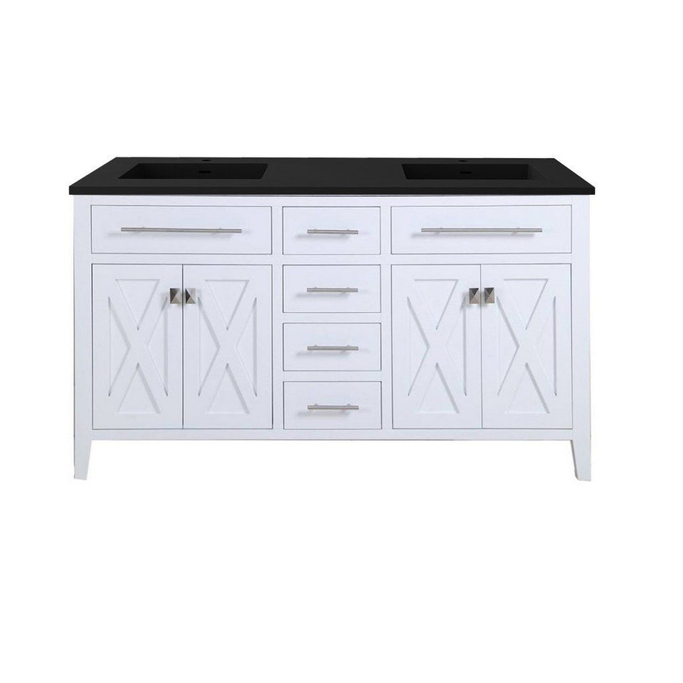 "Laviva Wimbledon 60"" Cabinet with Matte Black VIVA Stone Solid Surface Countertop Laviva Vanities White"