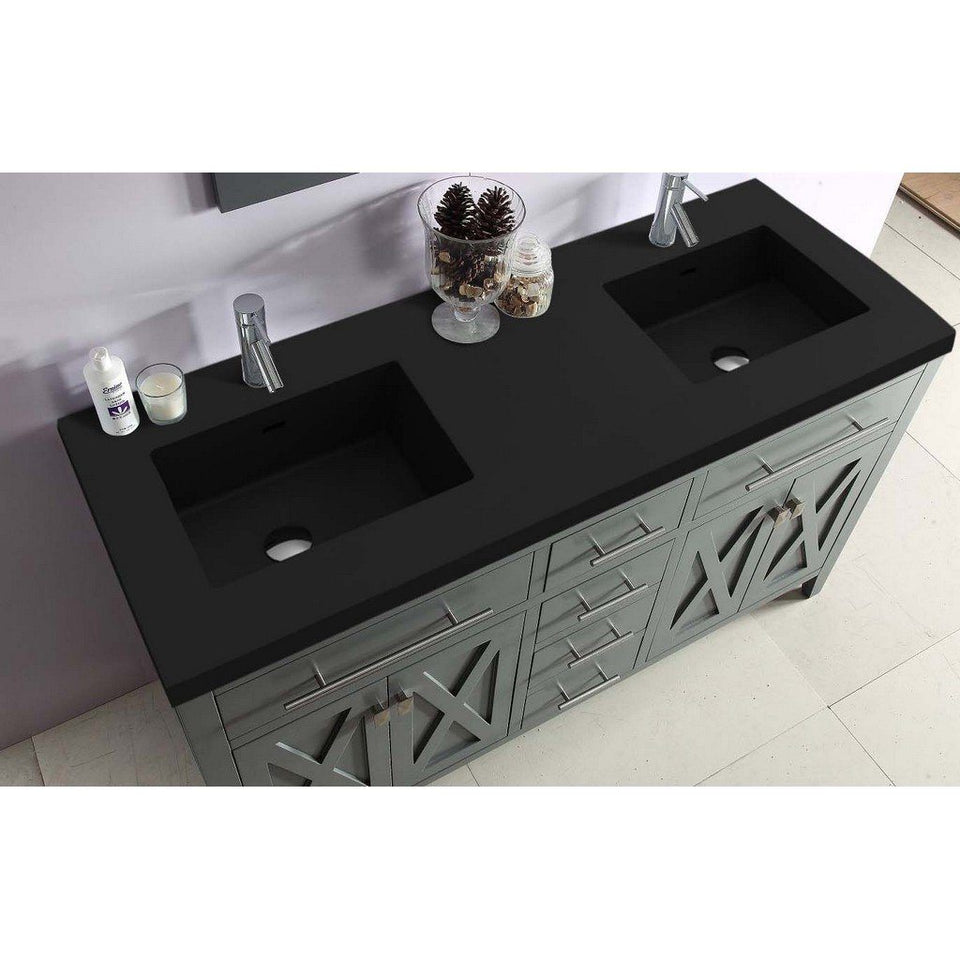"Laviva Wimbledon 60"" Cabinet with Matte Black VIVA Stone Solid Surface Countertop Laviva Vanities"