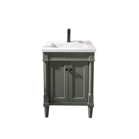 "Legion Furniture 24"" Bath Vanity with White Ceramic Top Legion Furniture Vanities Pewter Green"