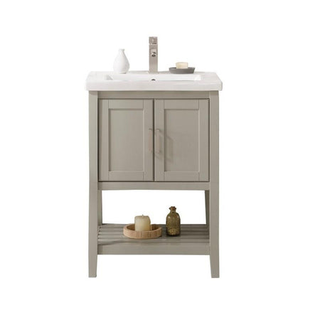 "Legion Furniture 24"" Sink Vanity with White Ceramic Top Legion Furniture Vanities White Gray"