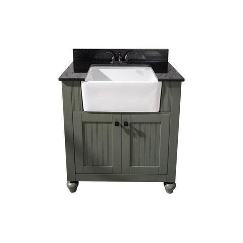 "Legion Furniture 30"" Sink Vanity with Black Granite Top Legion Furniture Vanities Pewter Green"
