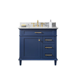 "Legion Furniture 36"" Single-Sink Vanity Cabinet with Carrara Marble Top Legion Furniture Vanities Blue"