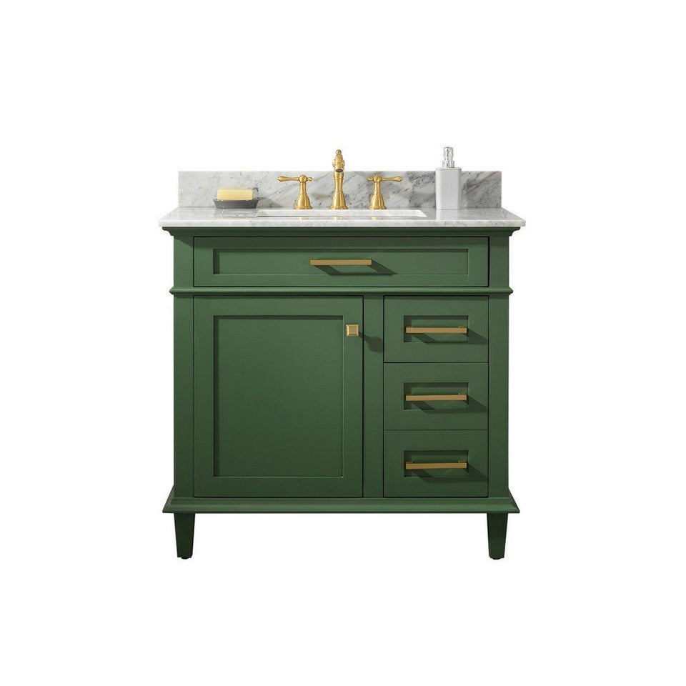 "Legion Furniture 36"" Single-Sink Vanity Cabinet with Carrara Marble Top Legion Furniture Vanities Vogue Green"