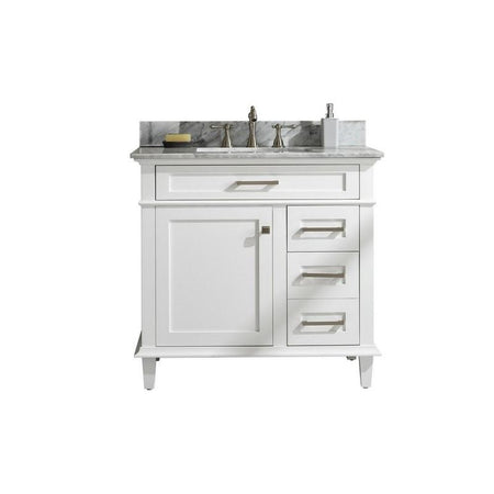 "Legion Furniture 36"" Single-Sink Vanity Cabinet with Carrara Marble Top Legion Furniture Vanities White"