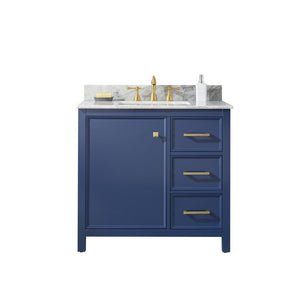 "Legion Furniture 36"" Single-Sink Vanity Cabinet with Marble Top Legion Furniture Vanities Blue"