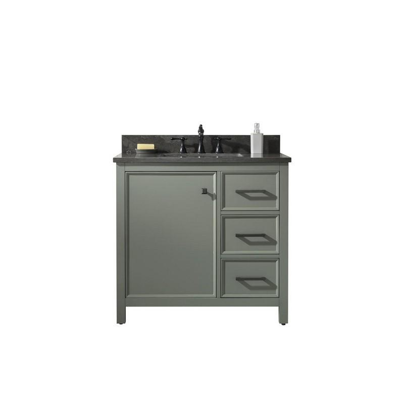 "Legion Furniture 36"" Single-Sink Vanity Cabinet with Marble Top Legion Furniture Vanities Pewter Green"