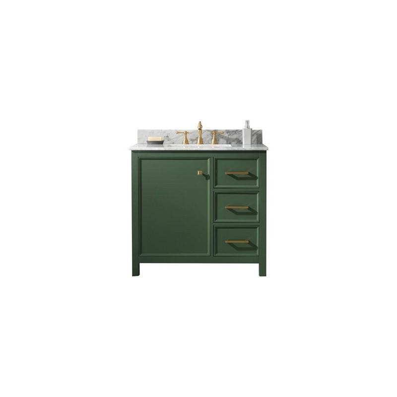 "Legion Furniture 36"" Single-Sink Vanity Cabinet with Marble Top Legion Furniture Vanities Vogue Green"