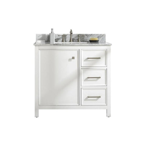 "Legion Furniture 36"" Single-Sink Vanity Cabinet with Marble Top Legion Furniture Vanities White"
