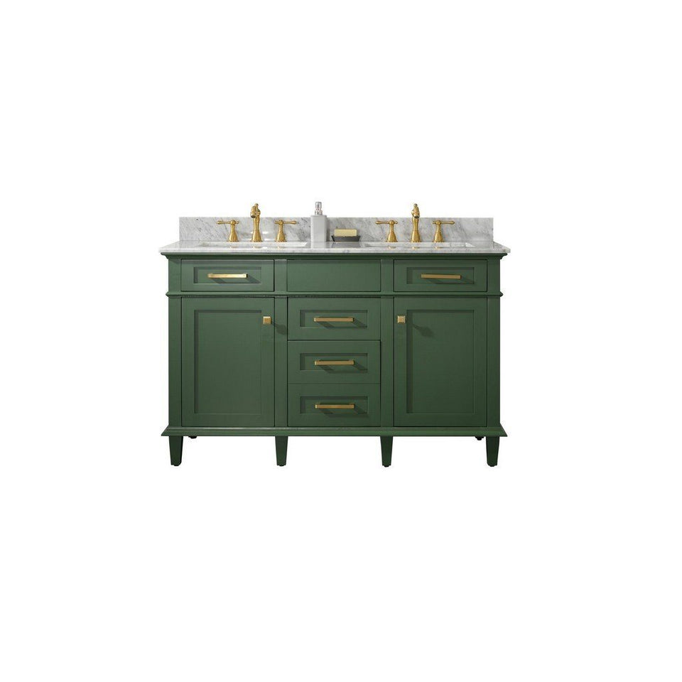 "Legion Furniture 54"" Double-Sink Vanity Cabinet with Carrara Marble Top Legion Furniture Vanities Vogue Green"