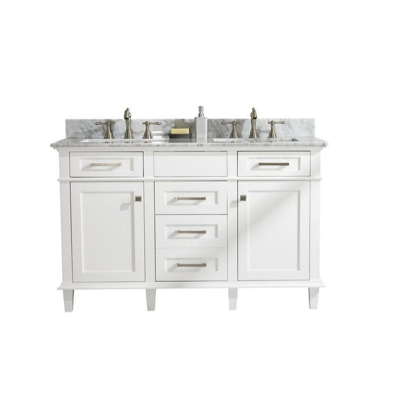 "Legion Furniture 54"" Double-Sink Vanity Cabinet with Carrara Marble Top Legion Furniture Vanities White"
