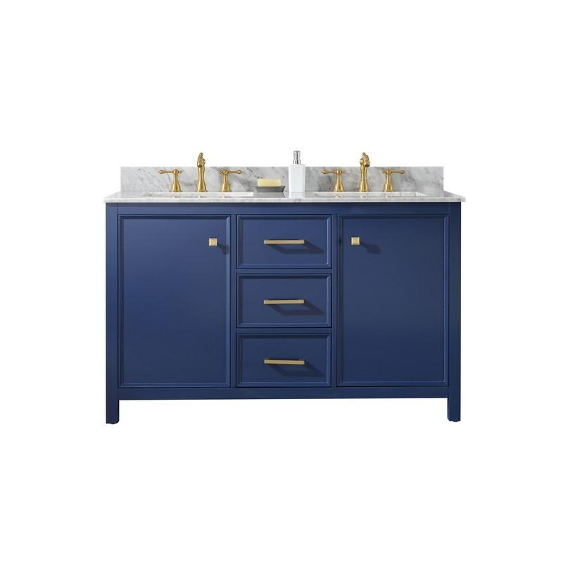 "Legion Furniture 54"" Double-Sink Vanity Cabinet with Marble Top Legion Furniture Vanities Blue"