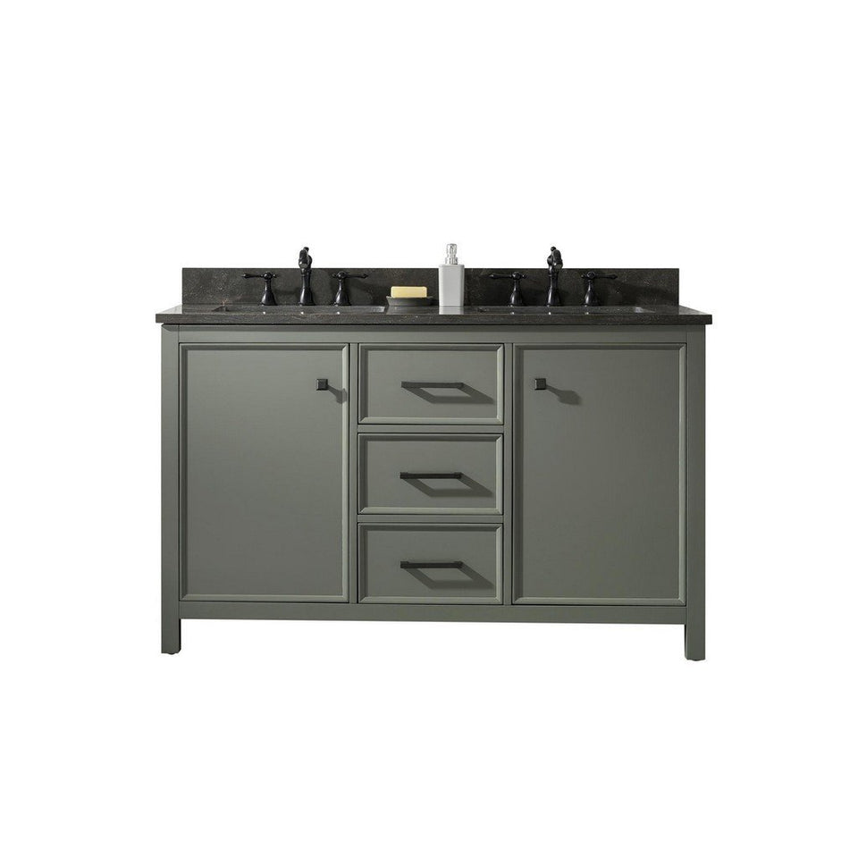 "Legion Furniture 54"" Double-Sink Vanity Cabinet with Marble Top Legion Furniture Vanities Pewter Green"