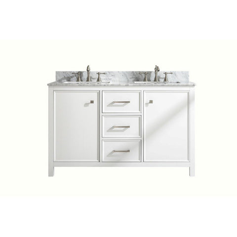 "Legion Furniture 54"" Double-Sink Vanity Cabinet with Marble Top Legion Furniture Vanities White"