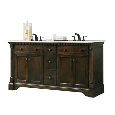 "Legion Furniture 60"" Antique Coffee Sink Vanity with Carrara White Top Legion Furniture Vanities Antique Coffee"