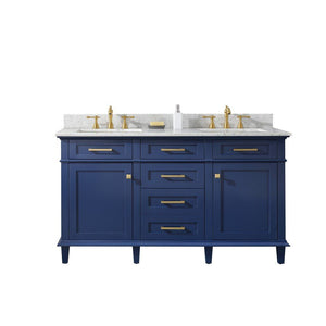 "Legion Furniture 60"" Double-Sink Vanity Cabinet with Carrara Marble Top Legion Furniture Vanities Blue"