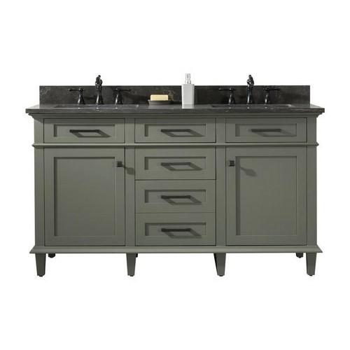 "Legion Furniture 60"" Double-Sink Vanity Cabinet with Carrara Marble Top Legion Furniture Vanities Pewter Green"