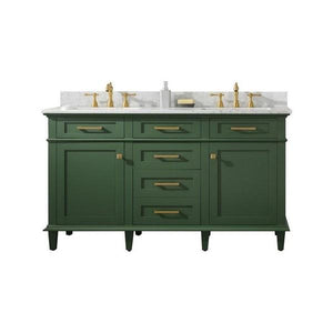 "Legion Furniture 60"" Double-Sink Vanity Cabinet with Carrara Marble Top Legion Furniture Vanities Vogue Green"