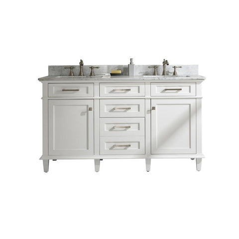 "Legion Furniture 60"" Double-Sink Vanity Cabinet with Carrara Marble Top Legion Furniture Vanities White"