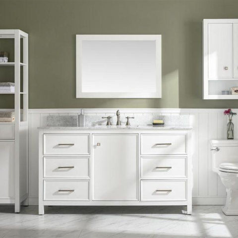 "Legion Furniture 60"" Single-Sink Vanity Cabinet with Marble Top Legion Furniture Vanities White"