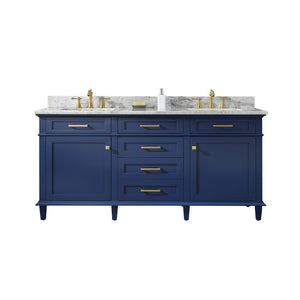 "Legion Furniture 72"" Double Sink Vanity Cabinet with Marble Top Legion Furniture Vanities Blue"
