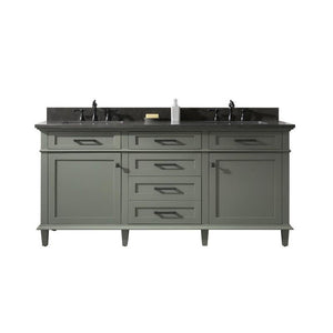 "Legion Furniture 72"" Double Sink Vanity Cabinet with Marble Top Legion Furniture Vanities Pewter Green"