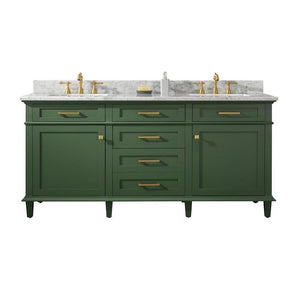 "Legion Furniture 72"" Double Sink Vanity Cabinet with Marble Top Legion Furniture Vanities Vogue Green"