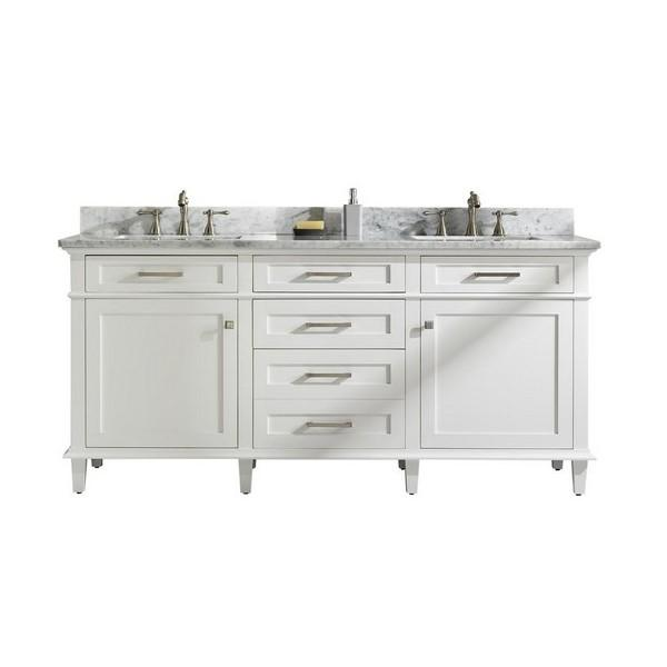 "Legion Furniture 72"" Double Sink Vanity Cabinet with Marble Top Legion Furniture Vanities White"