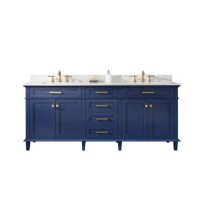 "Legion Furniture 80"" Double-Sink Vanity Cabinet with Marble Top Legion Furniture Vanities Blue"