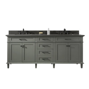 "Legion Furniture 80"" Double-Sink Vanity Cabinet with Marble Top Legion Furniture Vanities Pewter Green"