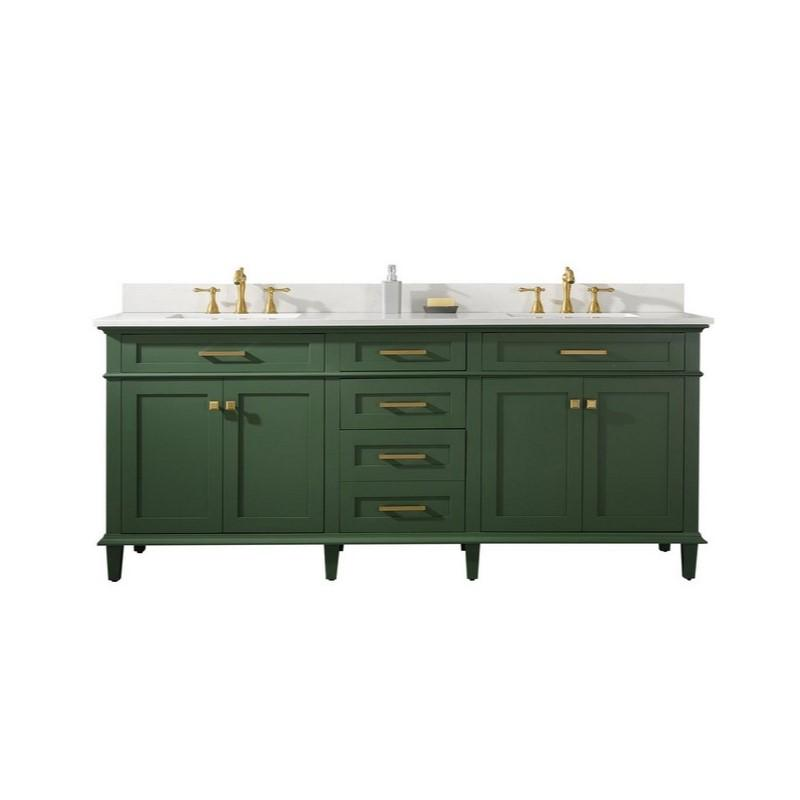 "Legion Furniture 80"" Double-Sink Vanity Cabinet with Marble Top Legion Furniture Vanities Vogue Green"