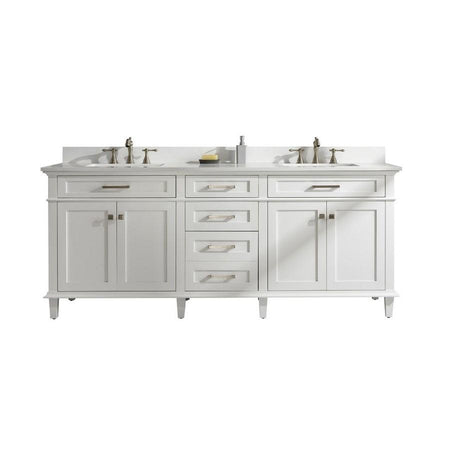 "Legion Furniture 80"" Double-Sink Vanity Cabinet with Marble Top Legion Furniture Vanities White"