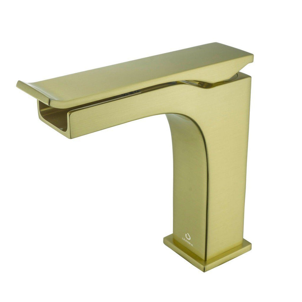 Lexora Balzani Brass Single Hole Waterfall Bathroom Faucet Lexora Faucets Brushed Brass