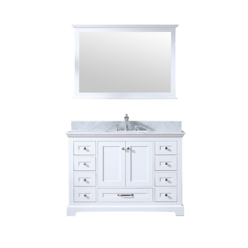 "Lexora Dukes 48"" Single Vanity, White Carrara Marble Top and 46"" Mirror with Faucet Lexora 48 inch Single Vanity White"
