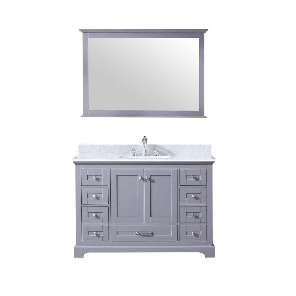 "Lexora Dukes 48"" Single Vanity, White Carrara Marble Top and 46"" Mirror with Faucet Lexora 48 inch Single Vanity Dark Grey"
