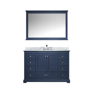 "Lexora Dukes 48"" Single Vanity, White Carrara Marble Top and 46"" Mirror with Faucet Lexora 48 inch Single Vanity Navy Blue"