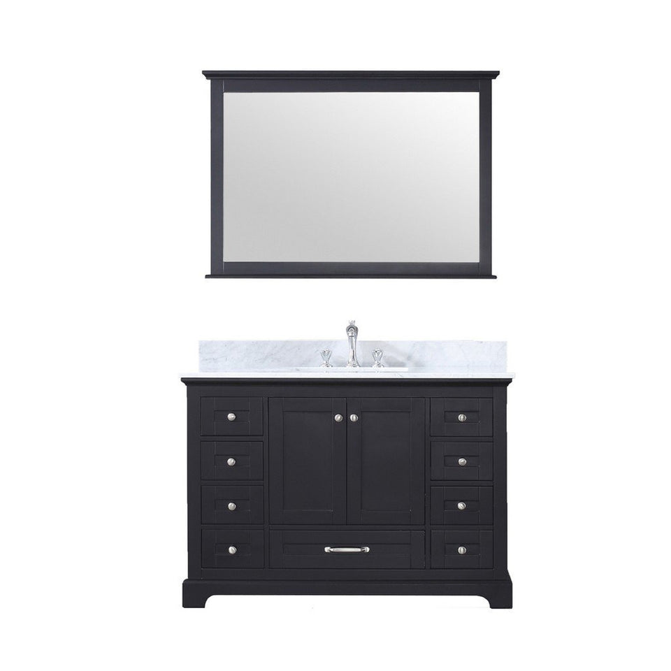 "Lexora Dukes 48"" Single Vanity, White Carrara Marble Top and 46"" Mirror with Faucet Lexora 48 inch Single Vanity Espresso"