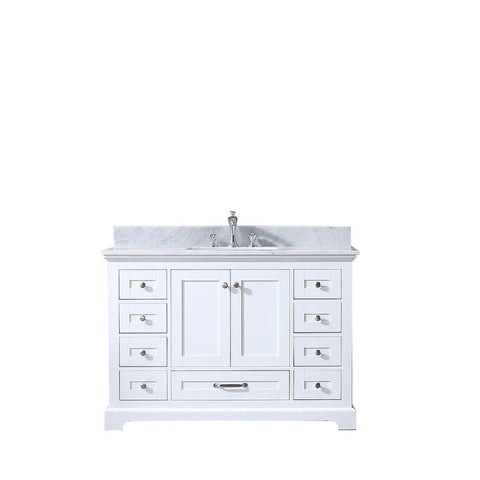 "Lexora Dukes 48"" Single Vanity with White Carrara Marble Top Lexora 48 inch Single Vanity White"